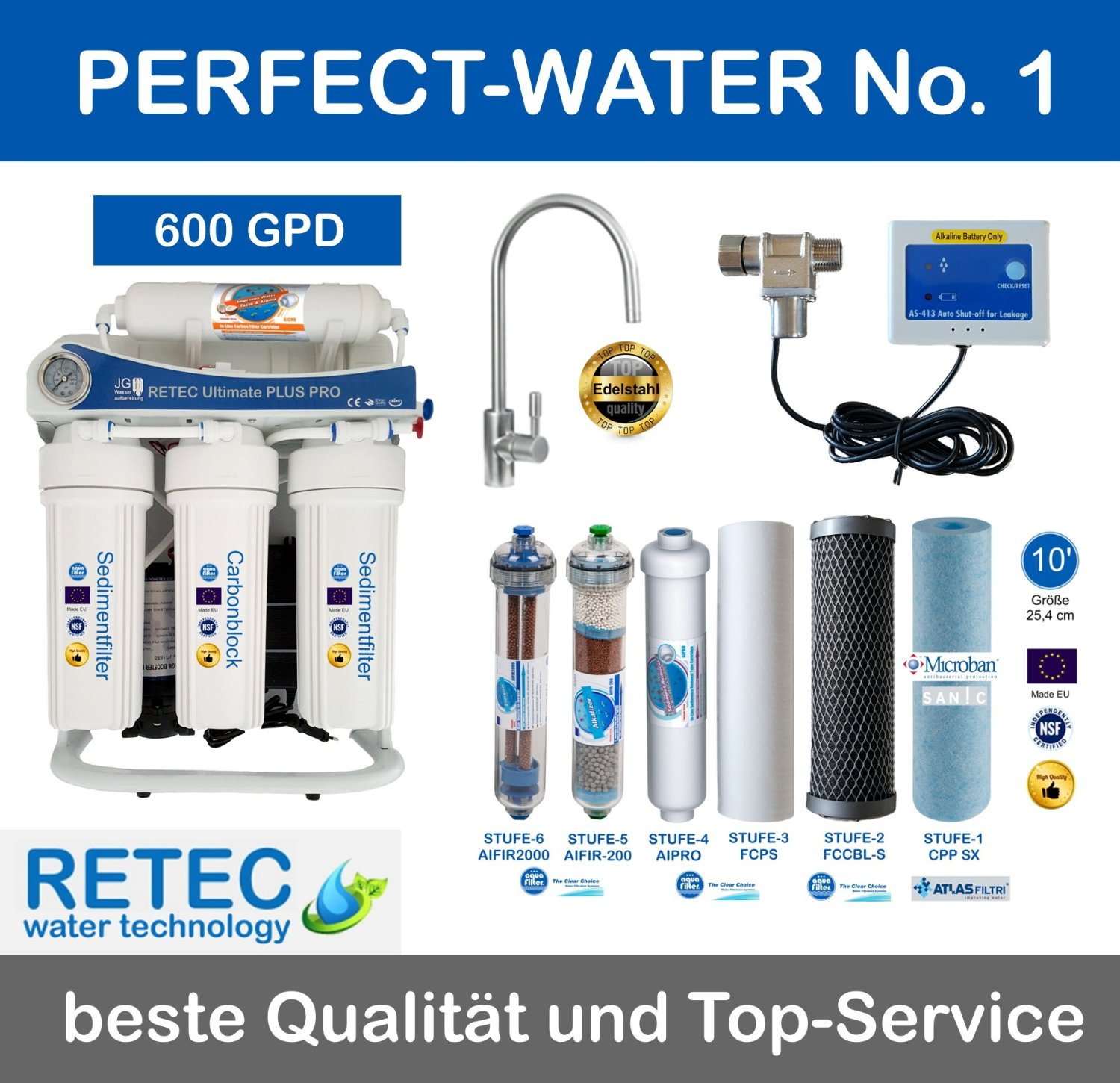 Osmoseanlage 600 GPD Perfect Water No. 1 Ultimate PLUS PRO PROFI EDITION 2016 direct flow
